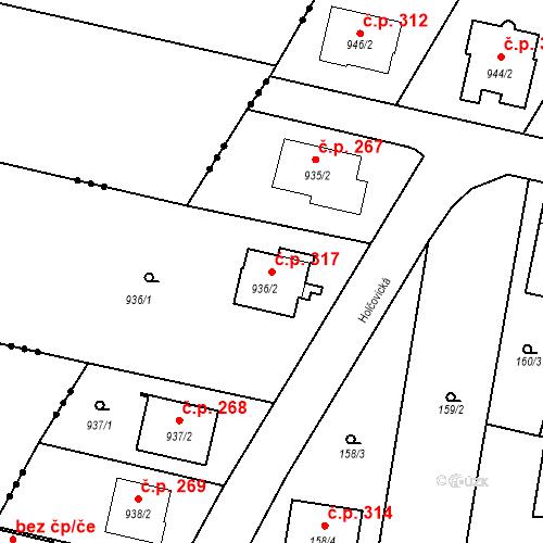 Katastrální mapa Stavební objekt Otice 317, Otice