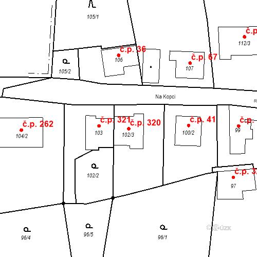 Katastrální mapa Stavební objekt Otice 320, Otice