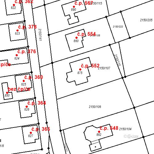 Katastrální mapa Stavební objekt Štítná nad Vláří 552, Štítná nad Vláří-Popov