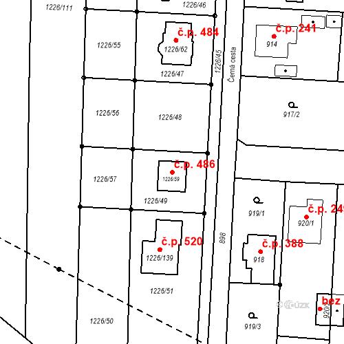Katastrální mapa Stavební objekt Slavkov 486, Slavkov