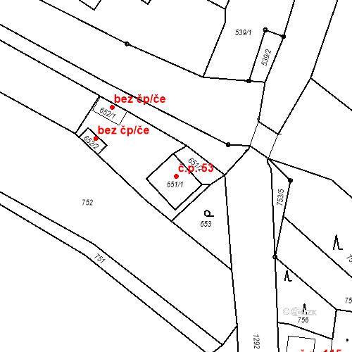 Katastrální mapa Stavební objekt Dolní Životice 53, Dolní Životice