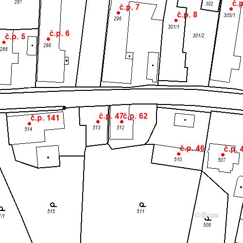 Katastrální mapa Stavební objekt Dolní Životice 62, Dolní Životice