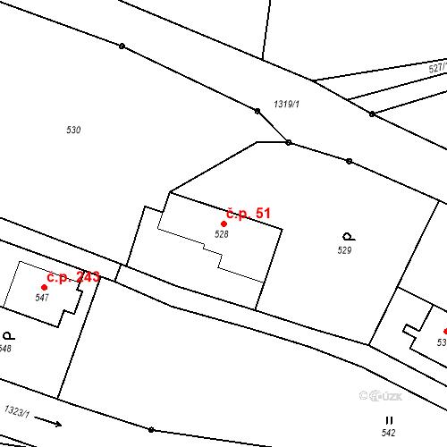 Katastrální mapa Stavební objekt Dolní Životice 51, Dolní Životice