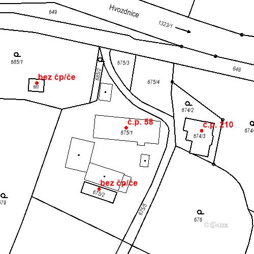 Katastrální mapa Stavební objekt Dolní Životice 58, Dolní Životice