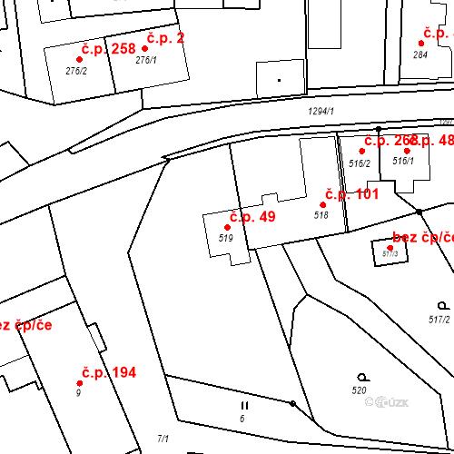 Katastrální mapa Stavební objekt Dolní Životice 49, Dolní Životice