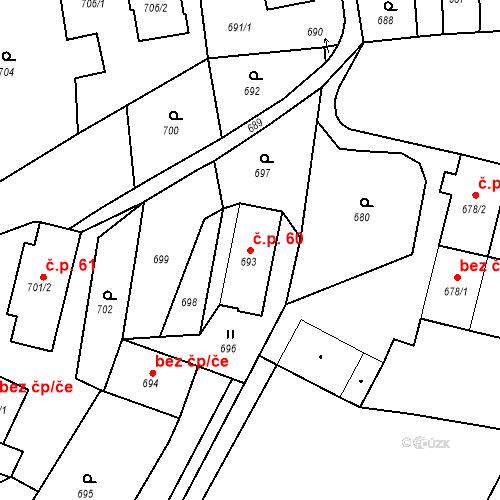 Katastrální mapa Stavební objekt Dolní Životice 60, Dolní Životice