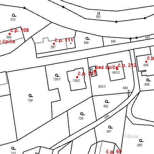 Katastrální mapa Stavební objekt Dolní Životice 211, Dolní Životice
