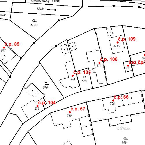 Katastrální mapa Stavební objekt Dolní Životice 105, Dolní Životice