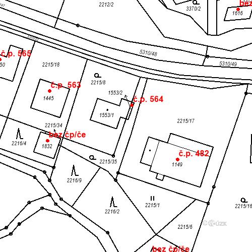 Katastrální mapa Stavební objekt Hošťálková 564, Hošťálková