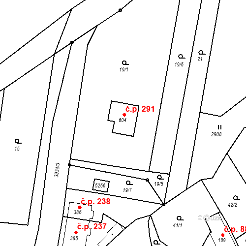 Katastrální mapa Stavební objekt Brumovice 291, Brumovice