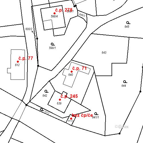 Katastrální mapa Stavební objekt Dolní Životice 71, Dolní Životice