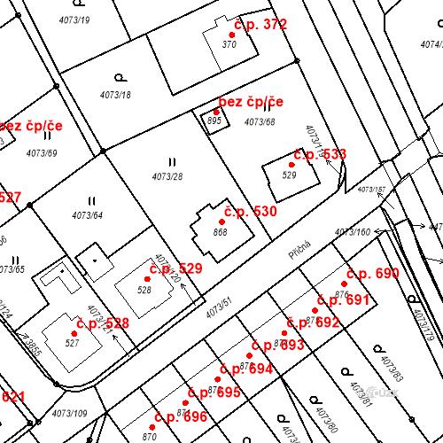 Katastrální mapa Stavební objekt Slavičín 530, Slavičín