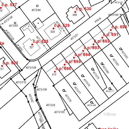 Katastrální mapa Stavební objekt Slavičín 695, Slavičín