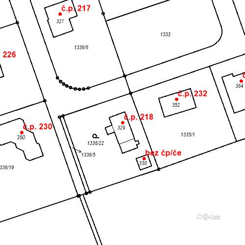 Katastrální mapa Stavební objekt Kunovice 218, Kunovice