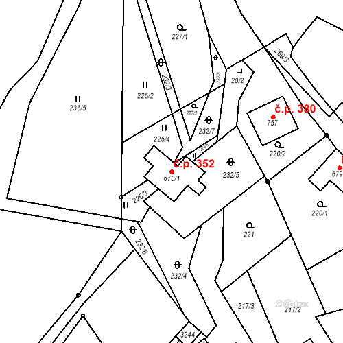 Katastrální mapa Stavební objekt Trnava 352, Trnava