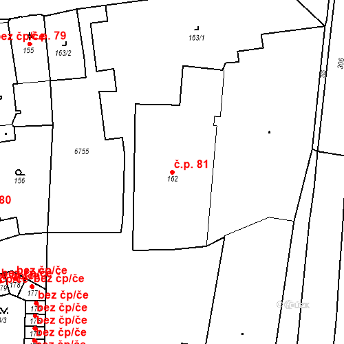Katastrální mapa Stavební objekt Pod Bezručovým vrchem 81, Krnov