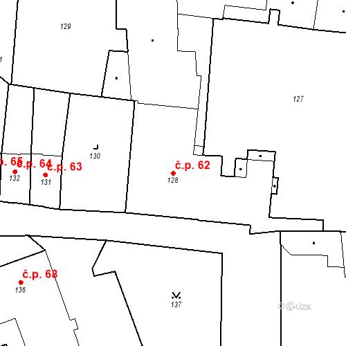 Katastrální mapa Stavební objekt Pod Bezručovým vrchem 62, Krnov