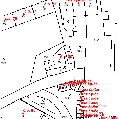 Katastrální mapa Stavební objekt Pod Bezručovým vrchem 80, Krnov