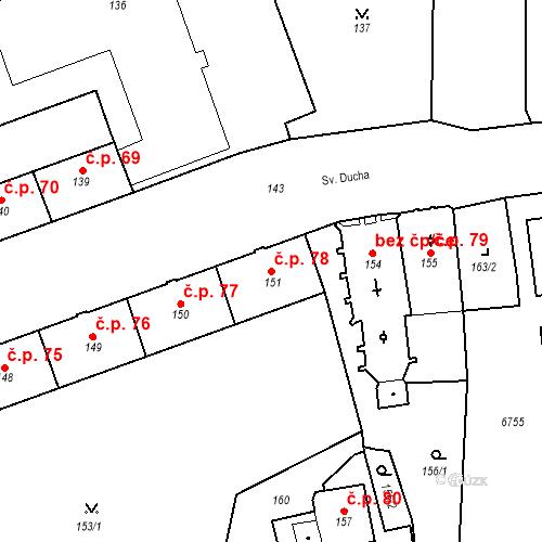 Katastrální mapa Stavební objekt Pod Bezručovým vrchem 78, Krnov