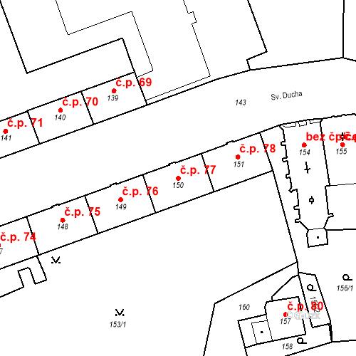 Katastrální mapa Stavební objekt Pod Bezručovým vrchem 77, Krnov