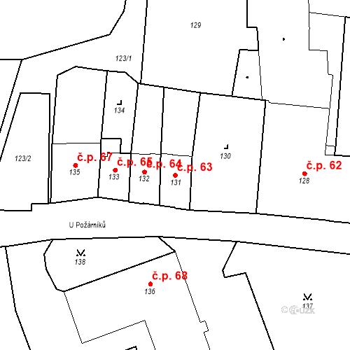 Katastrální mapa Stavební objekt Pod Bezručovým vrchem 63, Krnov