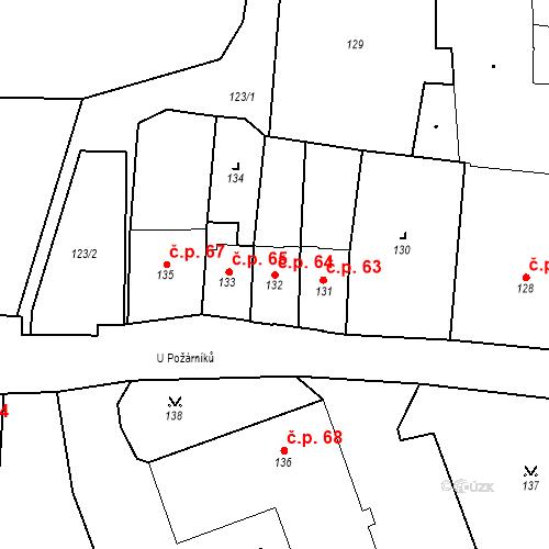Katastrální mapa Stavební objekt Pod Bezručovým vrchem 64, Krnov
