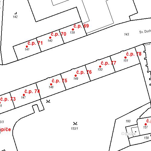 Katastrální mapa Stavební objekt Pod Bezručovým vrchem 76, Krnov