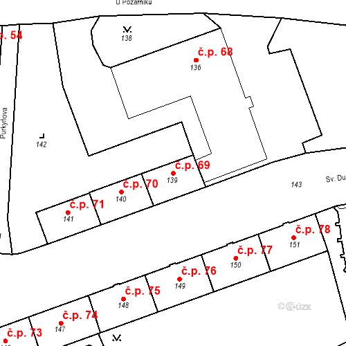 Katastrální mapa Stavební objekt Pod Bezručovým vrchem 69, Krnov