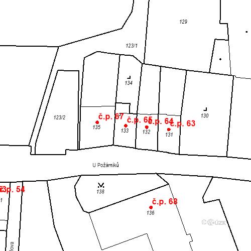 Katastrální mapa Stavební objekt Pod Bezručovým vrchem 65, Krnov