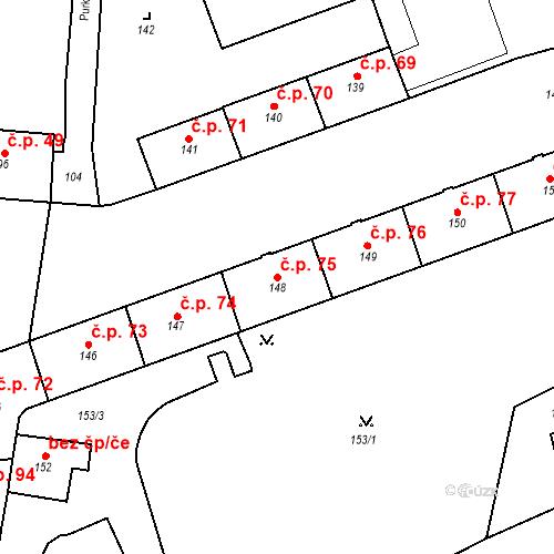Katastrální mapa Stavební objekt Pod Bezručovým vrchem 75, Krnov