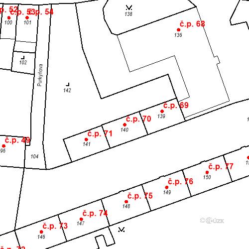 Katastrální mapa Stavební objekt Pod Bezručovým vrchem 70, Krnov