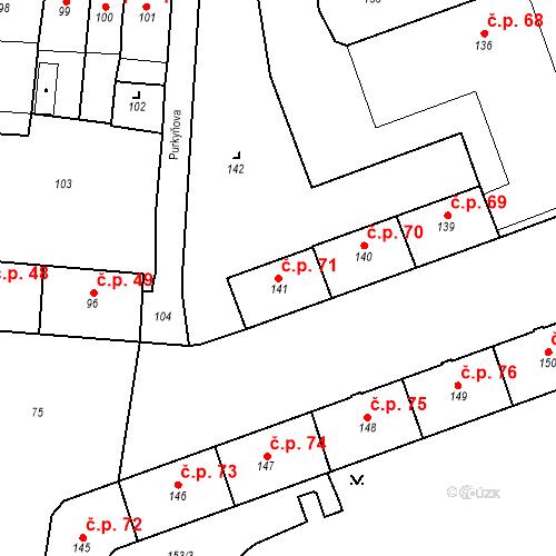 Katastrální mapa Stavební objekt Pod Bezručovým vrchem 71, Krnov