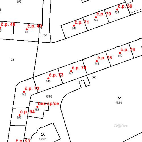Katastrální mapa Stavební objekt Pod Bezručovým vrchem 74, Krnov