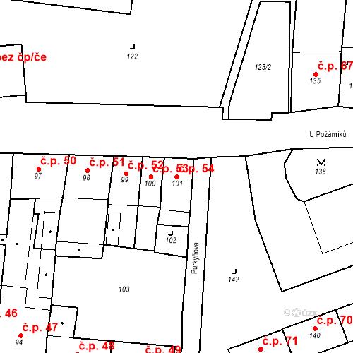 Katastrální mapa Stavební objekt Pod Bezručovým vrchem 54, Krnov