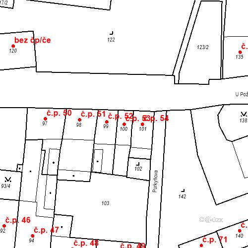 Katastrální mapa Stavební objekt Pod Bezručovým vrchem 53, Krnov