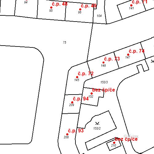 Katastrální mapa Stavební objekt Pod Bezručovým vrchem 72, Krnov
