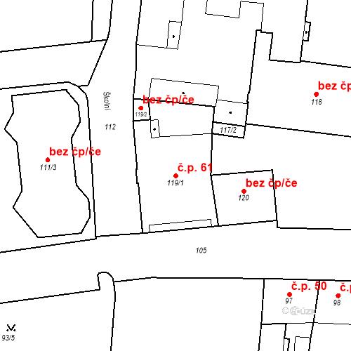 Katastrální mapa Stavební objekt Pod Bezručovým vrchem 61, Krnov