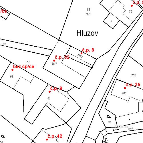 Katastrální mapa Stavební objekt Hluzov 82, Černotín