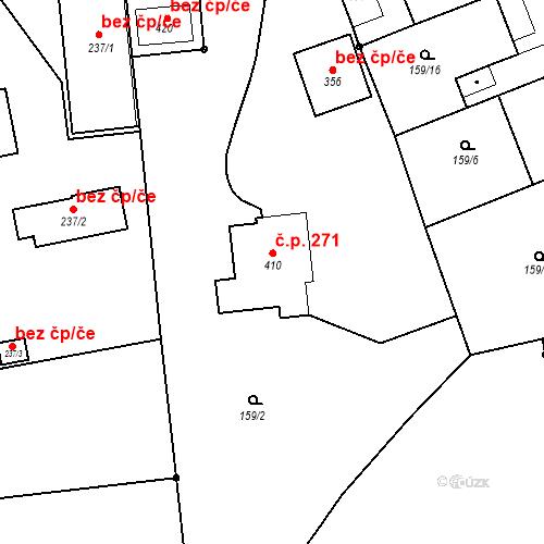 Katastrální mapa Stavební objekt Všechovice 271, Všechovice
