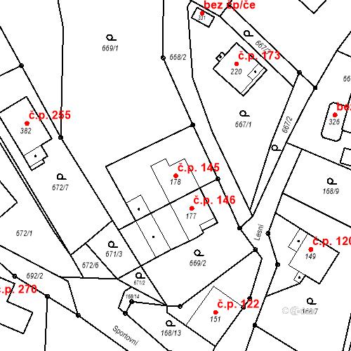 Katastrální mapa Stavební objekt Opatovice 145, Opatovice