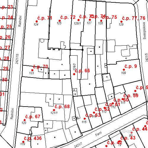Katastrální mapa Stavební objekt Hranice I-Město 66, Hranice