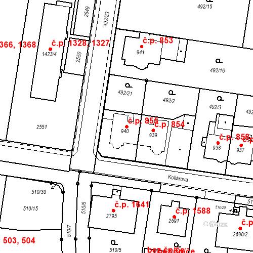 Katastrální mapa Stavební objekt Hranice I-Město 855, Hranice
