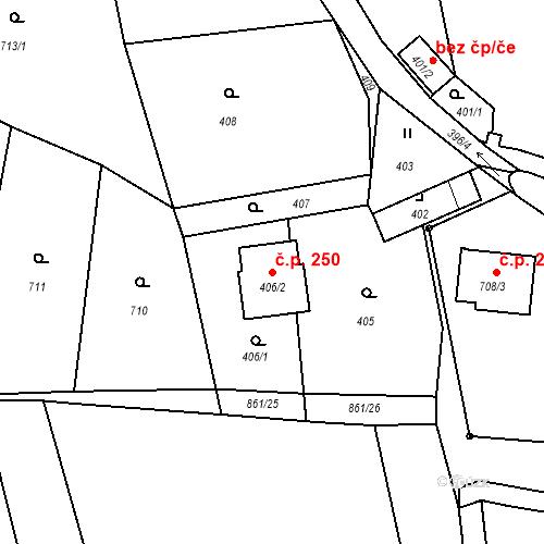 Katastrální mapa Stavební objekt Veselá 250, Veselá