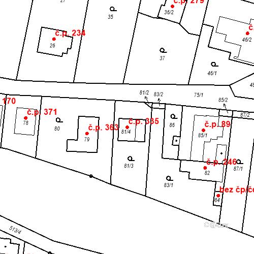 Katastrální mapa Stavební objekt Lípa 335, Lípa