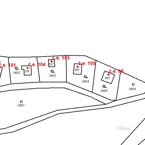 Katastrální mapa Stavební objekt Lukov 105, Lukov