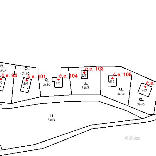 Katastrální mapa Stavební objekt Lukov 103, Lukov