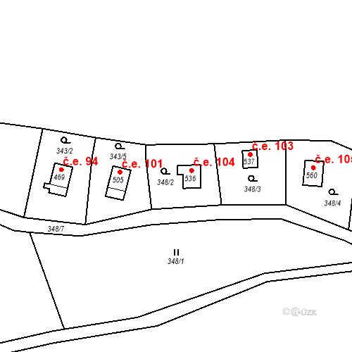 Katastrální mapa Stavební objekt Lukov 104, Lukov