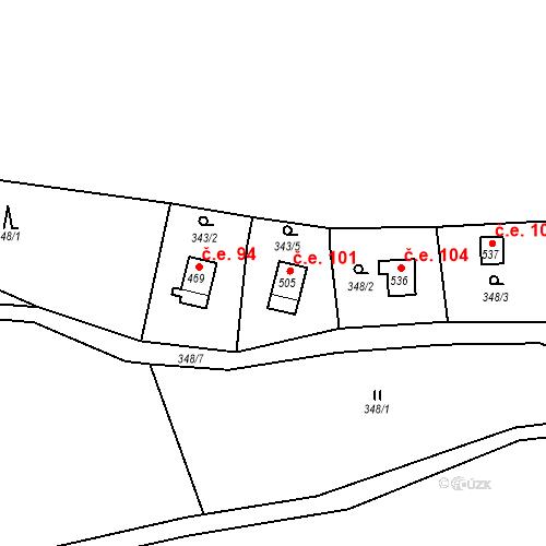 Katastrální mapa Stavební objekt Lukov 101, Lukov