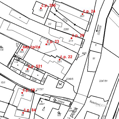 Katastrální mapa Stavební objekt Pozlovice 22, Pozlovice
