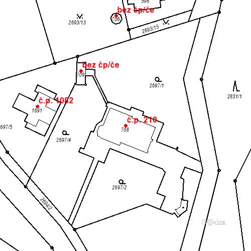 Katastrální mapa Stavební objekt Luhačovice 210, Luhačovice
